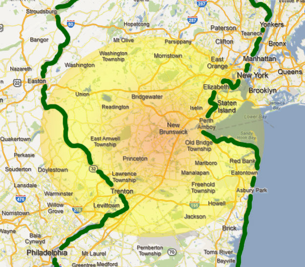N.J. Catering Coverage Area